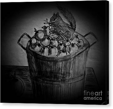 Canvas Print featuring the drawing An Apple A Day by Ayasha Loya