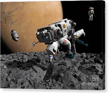 An Astronaut Makes First Human Contact Canvas Print by Walter Myers