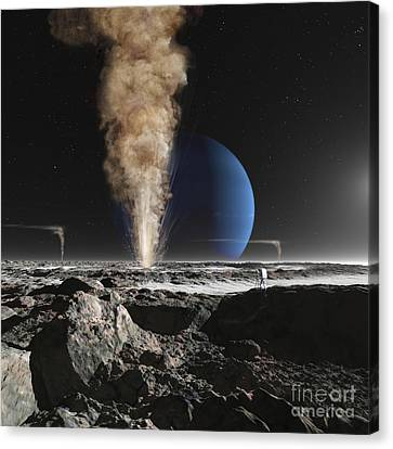 An Astronaut Observes The Eruption Canvas Print by Ron Miller