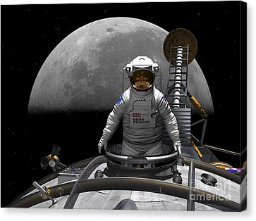 An Astronaut Takes A Last Look At Earth Canvas Print by Walter Myers