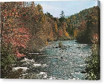 An Autumn Scene Along Little River Canvas Print by J. Baylor Roberts