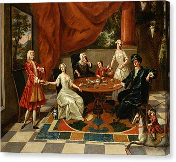 An Elegant Family Taking Tea  Canvas Print by Gavin Hamilton