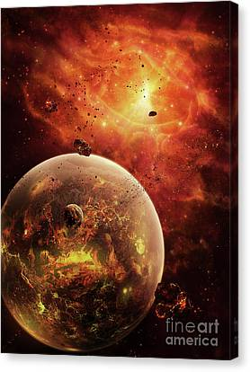 An Eye-shaped Nebula And Ring Canvas Print by Brian Christensen