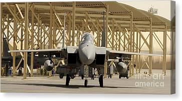 An F-15 Eagle Taxis Prior To A Training Canvas Print by Stocktrek Images