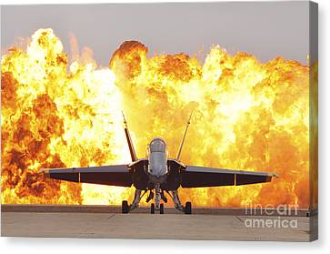 An Fa-18 Hornet Sits On The Flight Line Canvas Print by Stocktrek Images