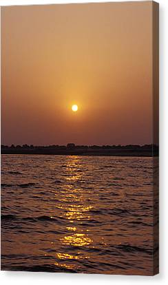 An Indian Sunrise Over The Holy Ganges Canvas Print