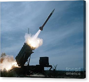 An Mim-104 Patriot Missile Is Test Canvas Print by Stocktrek Images