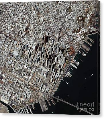 An Oblique-angle View Of San Franciscos Canvas Print by Stocktrek Images