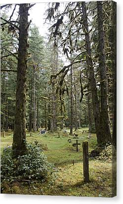 An Old Cemetary In A Forest Canvas Print by Taylor S. Kennedy