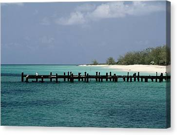 An Old Pier Of Grand Turk Island Canvas Print by Wolcott Henry