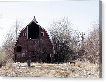 An Old Red Barn Canvas Print by Yumi Johnson