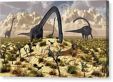 An Omeisaurus Dinosaur Discovers Canvas Print by Mark Stevenson