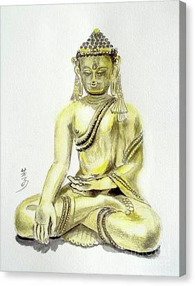 Canvas Print featuring the painting An Orient Statue At Toledo Art Museum - Ohio-3 by Yoshiko Mishina