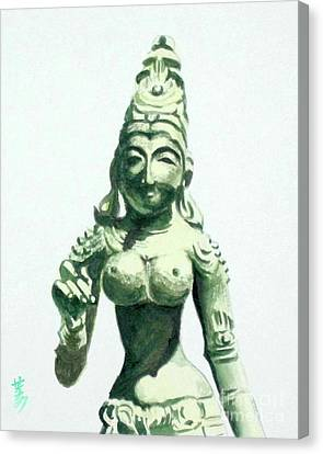 Canvas Print featuring the painting An Oriental Statue At The Toledo Museum Of Art-4 by Yoshiko Mishina