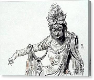 Canvas Print featuring the painting An Oriental Statue At Toledo Art Museum - Ohio- 2 by Yoshiko Mishina