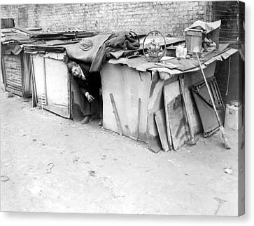 An Unemployed Man Living In A Shack Canvas Print by Everett