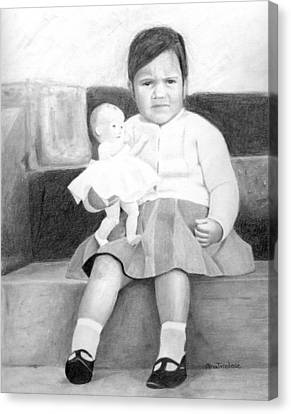 Canvas Print featuring the drawing Ana With Dolly by Ana Tirolese