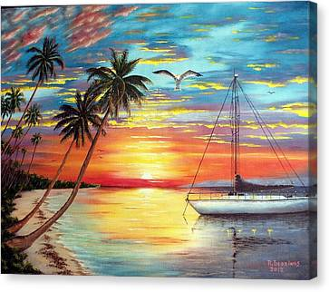 Anchored At Sunset Canvas Print by Riley Geddings