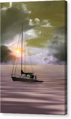 Anchored For The Night Canvas Print by Tom York Images