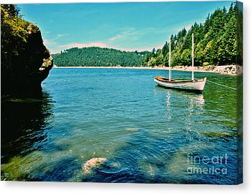 Canvas Print featuring the photograph Anchored In Bay by Michelle Joseph-Long