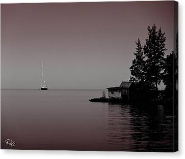 Anchored Near A Temple - Black And White Canvas Print by Allan Rufus