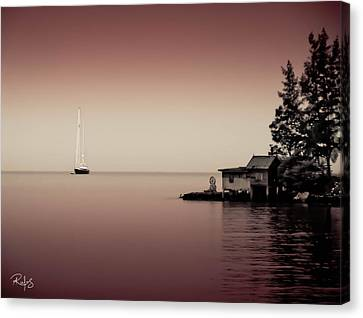 Anchored Near A Temple - Tint On Red Canvas Print by Allan Rufus