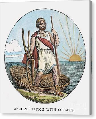 Ancient Briton And Coracle Canvas Print by Granger