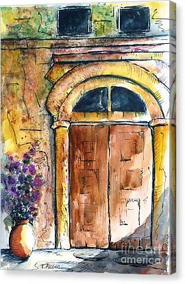 Ancient Door Of Greece Canvas Print by Therese Alcorn
