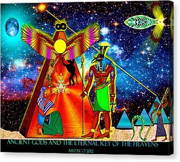 Ancient Gods Canvas Print by Myztico Campo