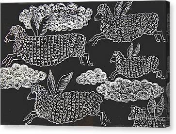 Canvas Print featuring the drawing And Sheep Can Fly by Nareeta Martin