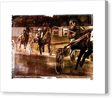 Canvas Print featuring the photograph and the winner is - A vintage processed Menorca trotting race by Pedro Cardona