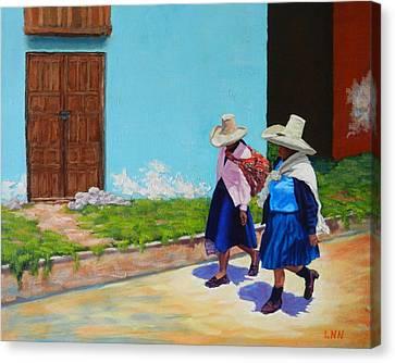 Andean Ladies, Peru Impression Canvas Print