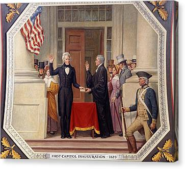 Canvas Print featuring the photograph Andrew Jackson At The First Capitol Inauguration - C 1829 by International  Images
