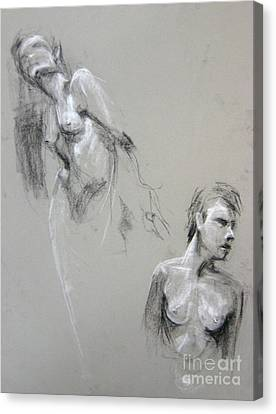 Canvas Print featuring the drawing Andro Double by Gabrielle Wilson-Sealy