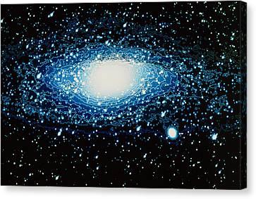 Andromeda Galaxy With Brightness Contour Lines Canvas Print by Laguna Design