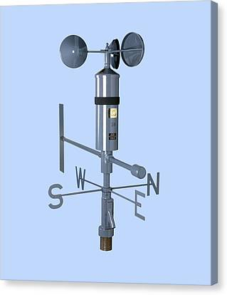 Anemometer And Wind Vane Canvas Print by Paul Rapson