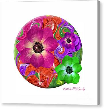 Anemone Craziness Canvas Print by Kathie McCurdy