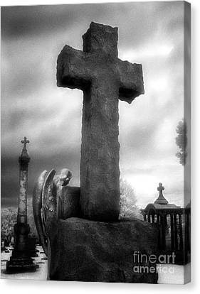 Angel And Cross Canvas Print by Jeff Holbrook