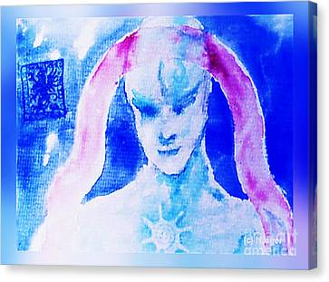 Canvas Print featuring the mixed media Angel Blue by Hartmut Jager