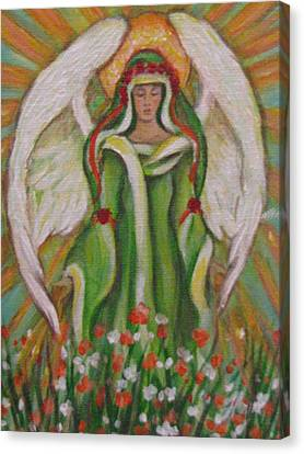 Angel In The Garden Canvas Print by Radha Flora Cloud