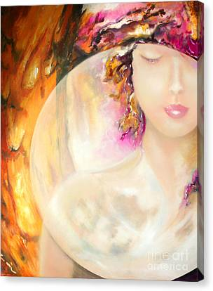Canvas Print featuring the painting Angel Luna by Michael Rock