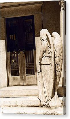 Angel Outside Cemetery Mausoleum Door Canvas Print by Kathy Fornal