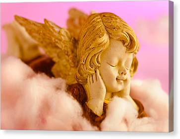 Angel Resting On Clouds And Enjoying The Sun Canvas Print by U Schade
