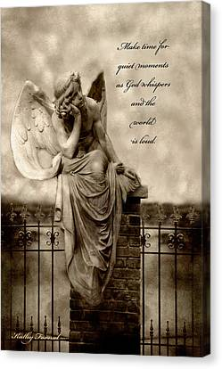 Angel Resting On Fence Inspirational Angel Art Canvas Print by Kathy Fornal