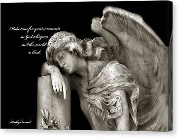 Angel Resting On Post Inspirational Angel Art Canvas Print by Kathy Fornal
