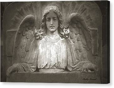 Angel Sitting At Grave  - Guardian Angel  Canvas Print by Kathy Fornal