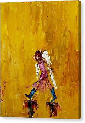 Angel With Cowboy Boots Canvas Print by Judy Mackey