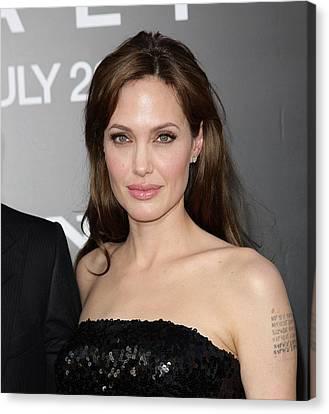 Natural Makeup Canvas Print - Angelina Jolie At Arrivals For Salt by Everett