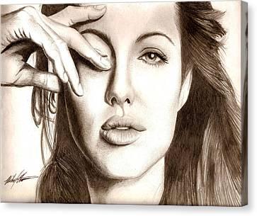 Angelina Jolie Canvas Print by Michael Mestas
