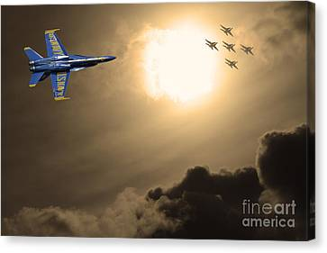 Angels In The Sky . Partial Sepia Canvas Print by Wingsdomain Art and Photography